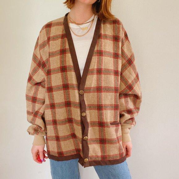 Vintage Brown Plaid Oversized Cardigan Sweater
